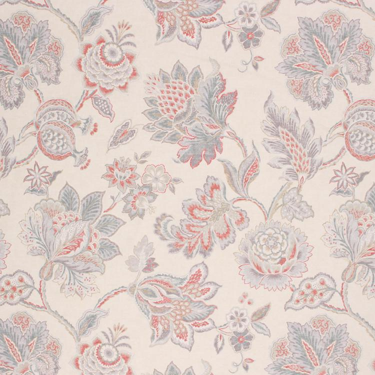 Cotton Upholstery Drapery Floral Fabric Ivory Gray Orange Blue / Porcelain
