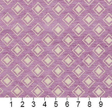 Load image into Gallery viewer, Essentials Chenille Purple White Geometric Diamond Upholstery Fabric