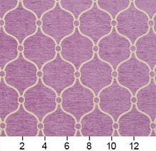 Load image into Gallery viewer, Essentials Chenille Purple White Geometric Trellis Upholstery Fabric