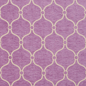 Essentials Chenille Purple White Geometric Trellis Upholstery Fabric