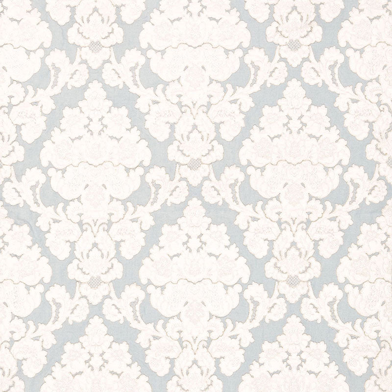 SCHUMACHER MONTALCINO APPLIQUE DAMASK FABRIC / ROBIN'S EGG