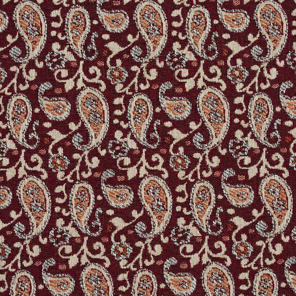Essentials Red Beige Orange White Upholstery Fabric / Spice Paisley