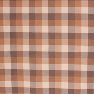 Check Plaid Drapery Fabric Mocha Brown Beige / Sandcastle