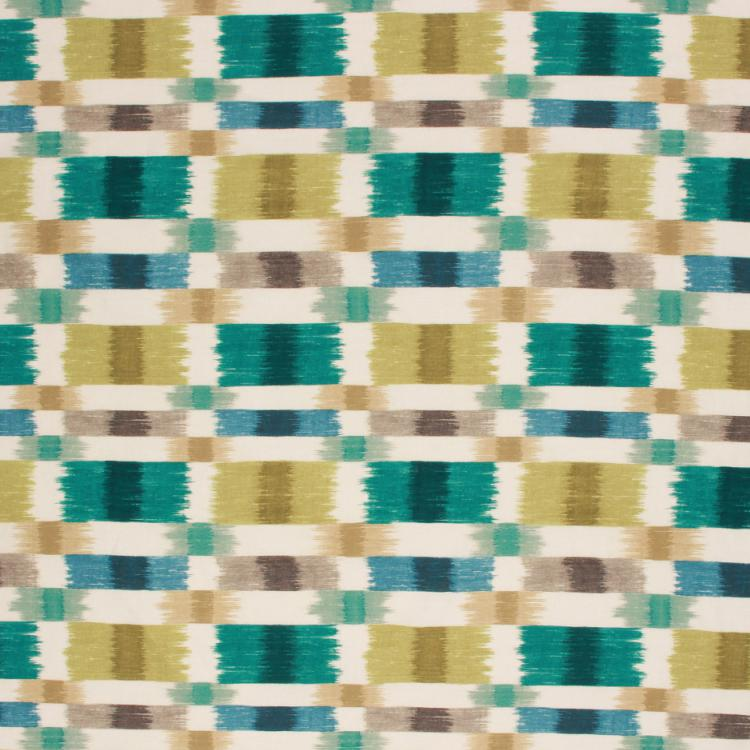 Geometric Abstract Drapery Upholstery Fabric Teal Green Blue / Seaglass