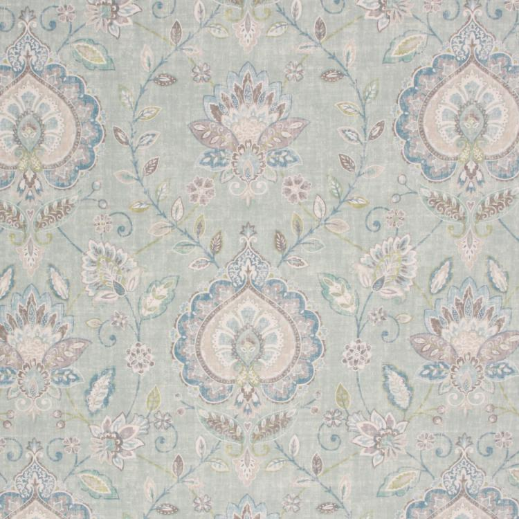 Cotton Drapery Upholstery Floral Medallion Fabric Aqua Blue Green / Seaglass