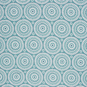 Embroidered Cotton Medallion Drapery Fabric Blue Teal / Seamist RMIL1