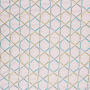Embroidered Geometric Drapery Upholstery Fabric Navy Blue Azure / Sea RMIL1