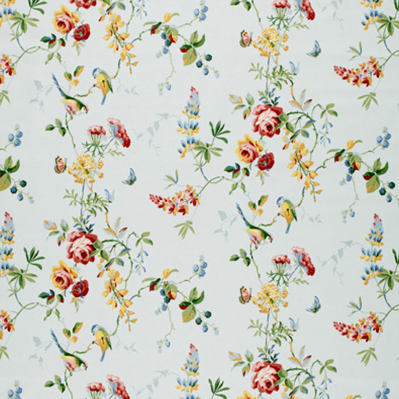 SCHUMACHER CHICKADEE FLORAL FABRIC / SKY