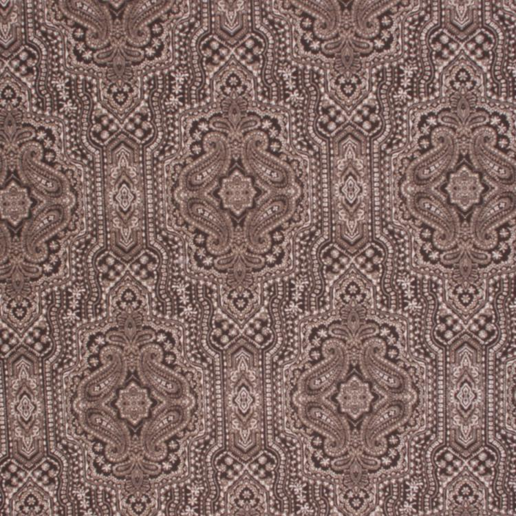 Cotton Drapery Fabric Ethnic Medallion Pattern Brown / Slate
