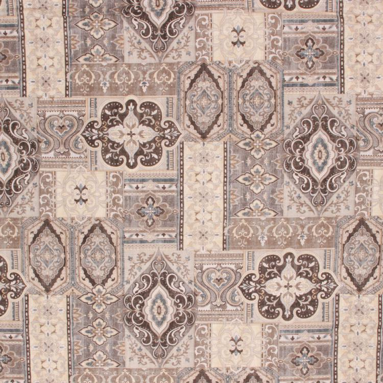 Cotton Drapery Fabric Ethnic Ikat Indian Brown Gray Beige Blue / Slate