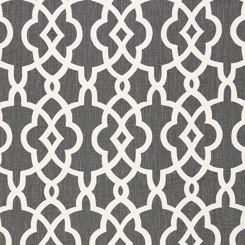 SCHUMACHER SUMMER PALACE FRET FABRIC / SMOKE