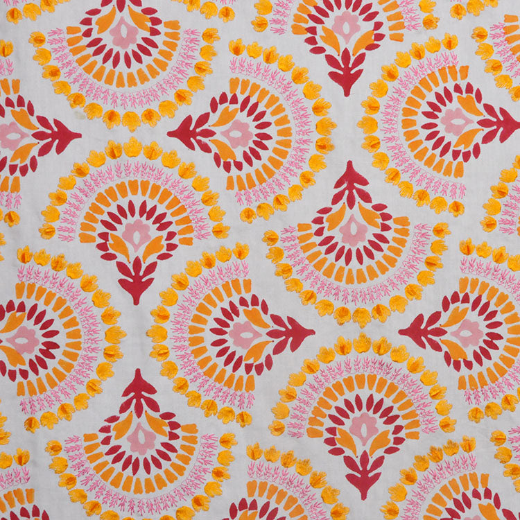 Embroidered Floral Velvet Drapery Fabric Ivory Orange Coral / Summer RMBLV