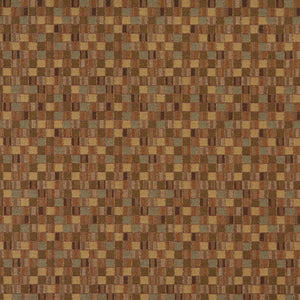 Essentials Saddle Brown Sage Beige Mosaic Upholstery Fabric / Sahara