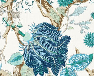 Schumacher Indian Arbre fabric / Peacock & Emerald