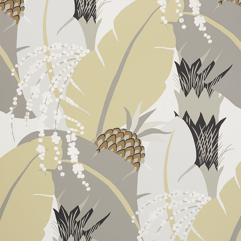 Schumacher Ananas Wallpaper / Neutral