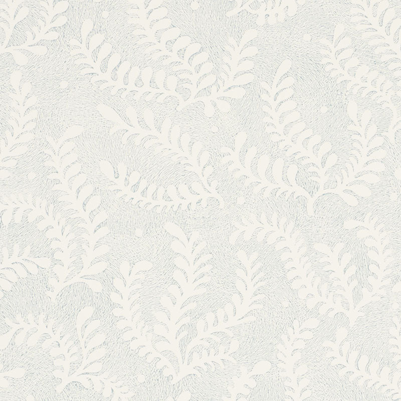 Schumacher Etched Fern Wallpaper / Sky