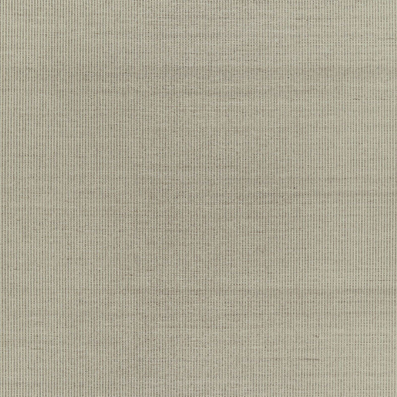 Schumacher Harshaw Pinstripe Sisal Wallpaper / Fog