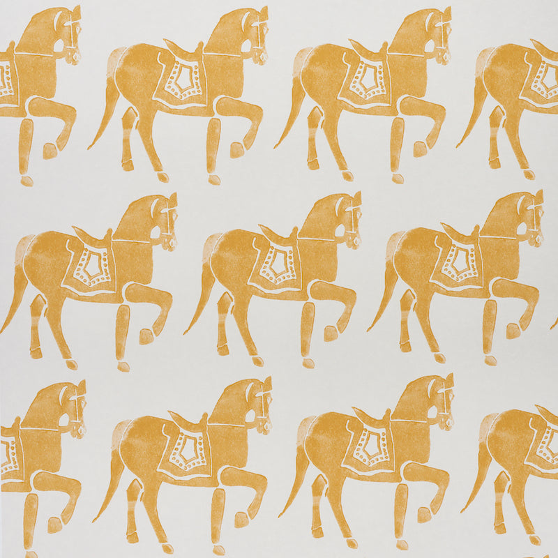 Schumacher Marwari Horse Wallpaper / Mustard