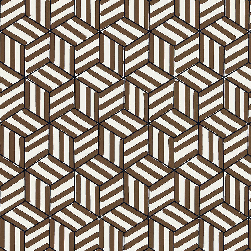 Schumacher Tumbling Blocks Wallpaper / Chocolate