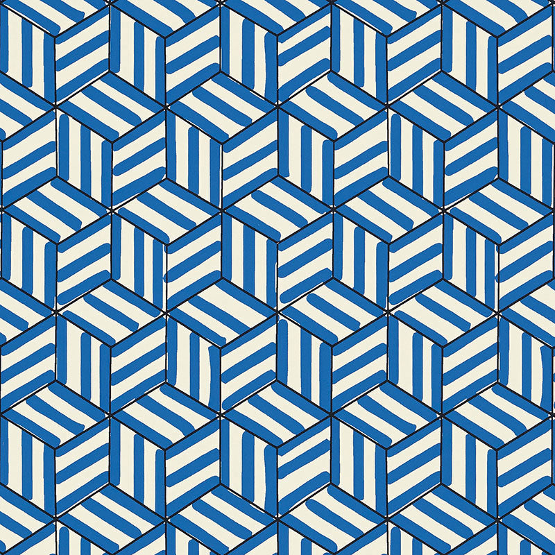 Schumacher Tumbling Blocks Wallpaper / Cobalt