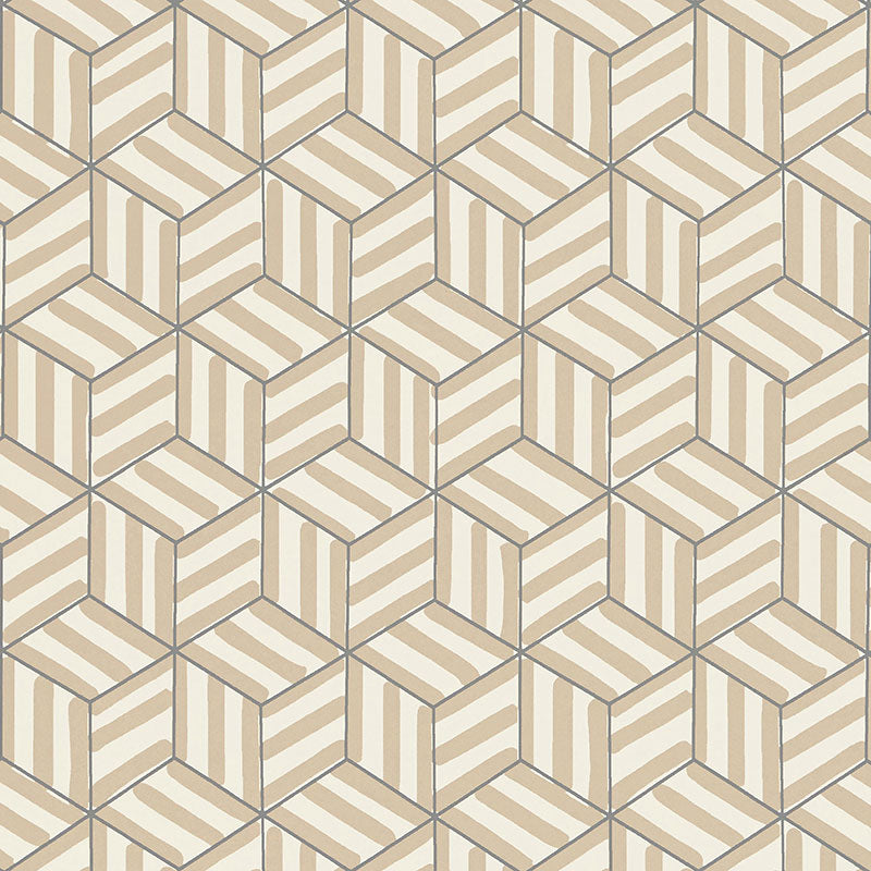 Schumacher Tumbling Blocks Wallpaper / Greige