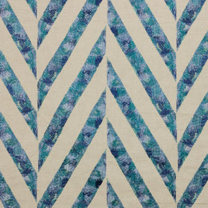 Scrafitti Teal Blue Embroidered Geometric Linen Blend Fabric
