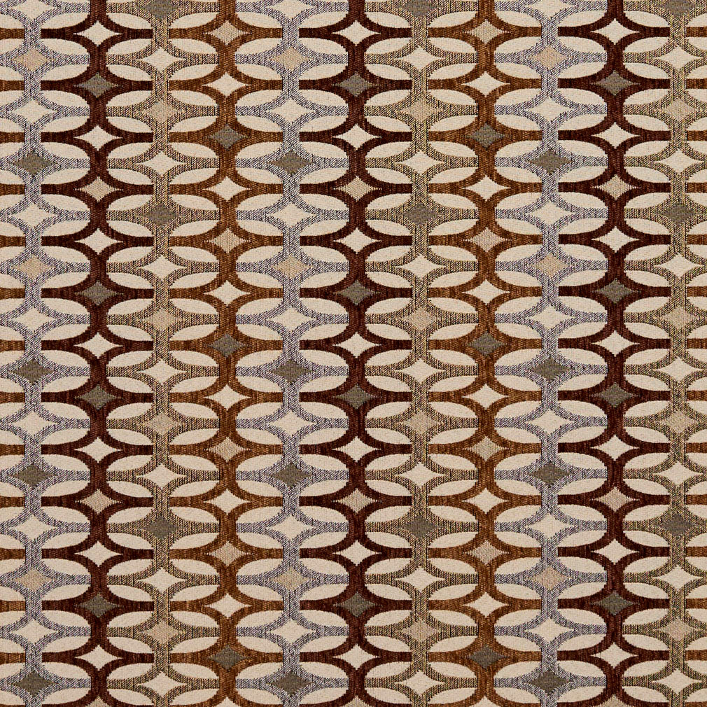 Essentials Sienna Brown Gray Tan Beige Geometric Upholstery Fabric / Harvest Interlock