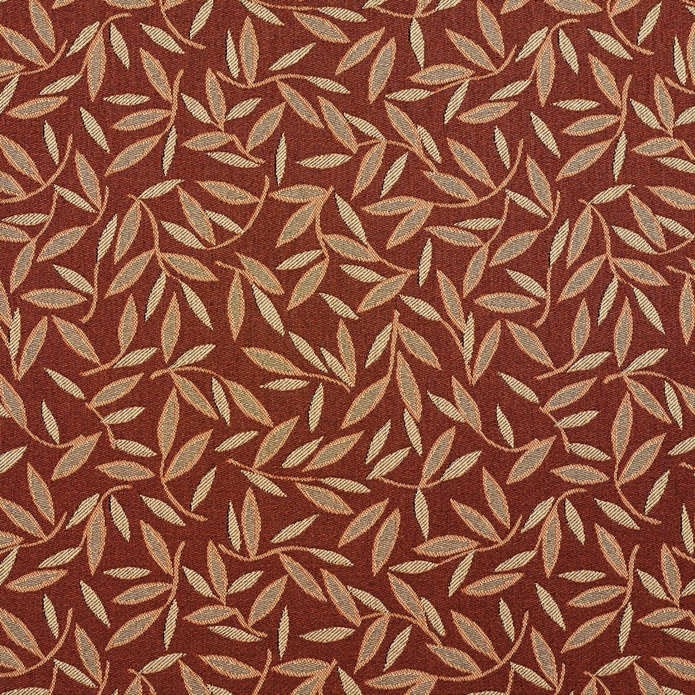 Essentials Sienna Grey Leaf Branches Upholstery Drapery Fabric / Nutmeg