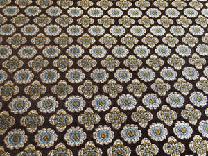 Floral Medallion Upholstery Fabric Olive Green Blue Light Yellow
