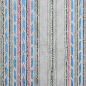 Embroidered Drapery Stripe Fabric Ivory Blue Green Pink / Spring RMBLV