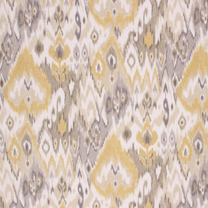 Cotton Drapery Ikat Ethnic Fabric Yellow Gray Beige / Stardust