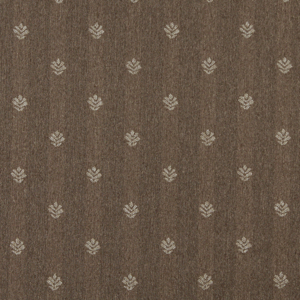 Essentials Dark Tan Beige Upholstery Fabric / Café Leaf