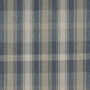 Essentials Tan Blue Beige Checkered Plaid Upholstery Fabric / Meadow