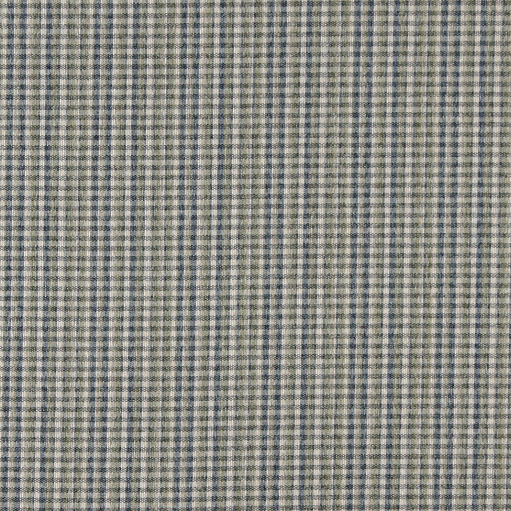 Essentials Tan Blue Green Checkered Plaid Upholstery Fabric / Spring