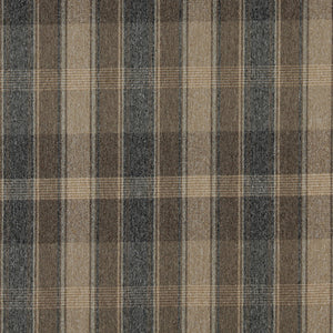 Essentials Tan Navy Beige Checkered Plaid Upholstery Fabric / Canyon