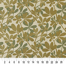 Load image into Gallery viewer, Essentials Cityscapes Tan Olive Green Botanical Leaf Pattern Upholstery Fabric
