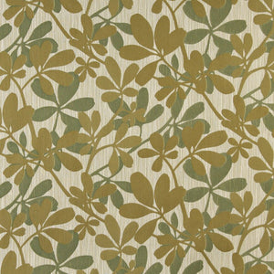 Essentials Cityscapes Tan Olive Green Botanical Leaf Pattern Upholstery Fabric