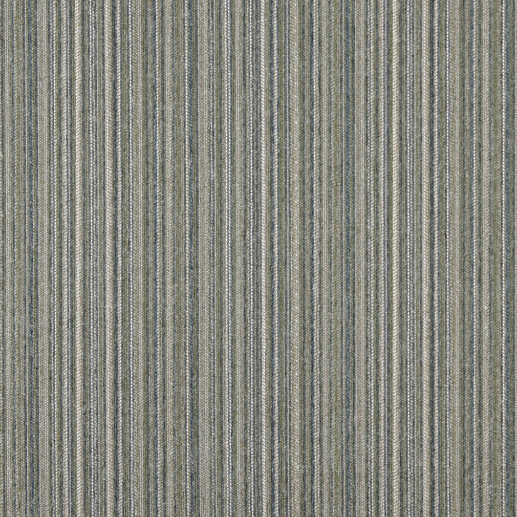 Essentials Tan Sage Blue Beige Stripe Upholstery Fabric / Celadon