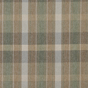 Essentials Tan Sage Ivory Checkered Plaid Upholstery Fabric / Aloe