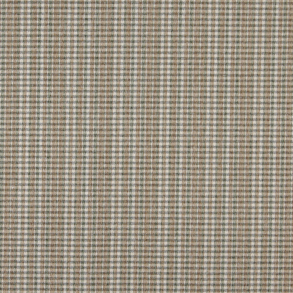 Essentials Tan Sage Ivory Checkered Plaid Upholstery Fabric / Pesto