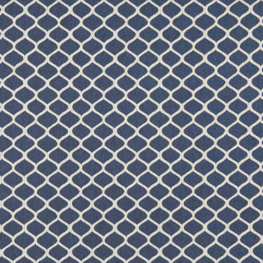 Essentials Heavy Duty Upholstery Trellis Fabric / Blue White