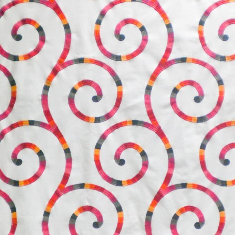 Tupinamba Swirl Embroidered Cotton Drapery Fabric