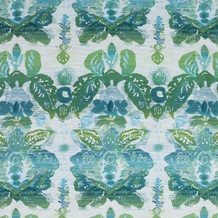 Waterscape Teal Green Damask Modern Upholstery Fabric