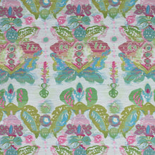 Load image into Gallery viewer, Waterscape Raspberry Pink Chartreuse Green Damask Modern Upholstery Fabric