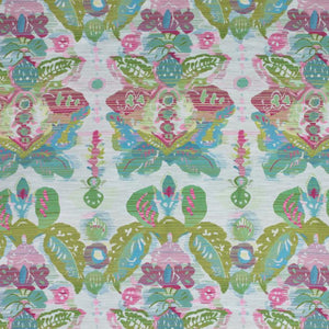 Waterscape Raspberry Pink Chartreuse Green Damask Modern Upholstery Fabric