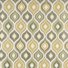 Load image into Gallery viewer, Essentials Cityscapes White Gray Olive Yellow Geometric Trellis Upholstery Drapery Fabric