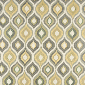 Essentials Cityscapes White Gray Olive Yellow Geometric Trellis Upholstery Drapery Fabric