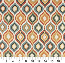 Load image into Gallery viewer, Essentials Cityscapes White Teal Gray Orange Yellow Geometric Trellis Upholstery Drapery Fabric