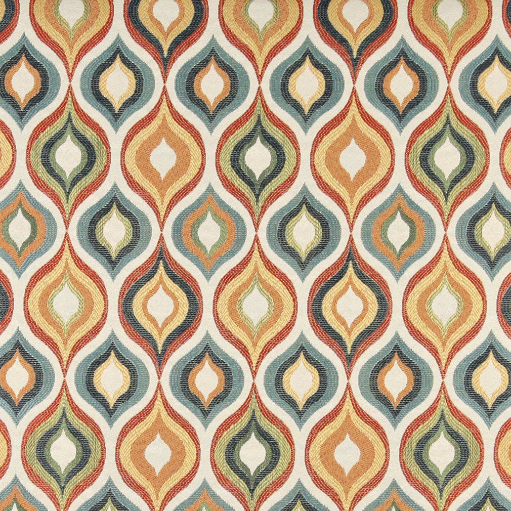 Essentials Cityscapes White Teal Gray Orange Yellow Geometric Trellis Upholstery Drapery Fabric