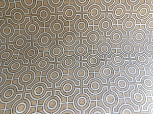 Beige Gray Circle Trellis Upholstery Fabric Geometric Asian Modern